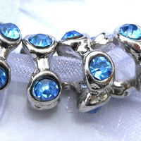 4 Piece Set Large Hole Silver Plated Beads, European Faceted Blue Beads