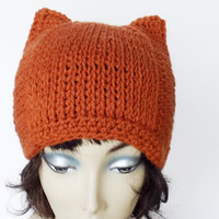 Crochet Cat Ears Beanie Team Colors Square  Hat