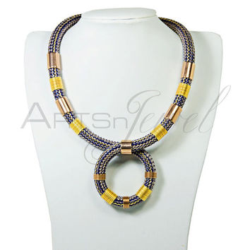 Statement necklace in blue grey climbing rope