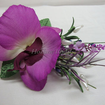 Boutonnieres, Fuschia Orchid boutonniere for Special Ocasion