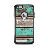 The Chipped Teal Paint On Wood Apple iPhone 6 Plus Otterbox Commuter Case Skin Set