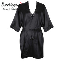 Burvogue Sexy Lingerie Sleepwear Women Honeymoon Silk Pajamas And Robe Sets Underwear Lace Robe 2 Pcs Nightwear