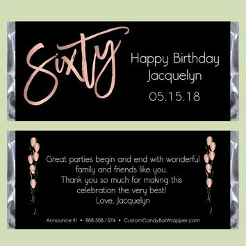 Modern Sixty Birthday Candy Bar Wrappers