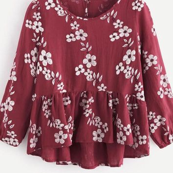 Autumn Calico Print Frill Hem Blouse Burgundy Floral Round Neck Button Top Long Sleeve Ruffle Cute Blouse
