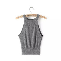 Sexy Knitted Bustier Crop Top Halter Women's AA Brandy Melville Adventure Time Feminino Camisetas Camis Tops 6 Color