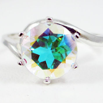 Mercury Mist Topaz Bypass Solitaire Ring Sterling Silver, Rainbow Topaz Ring, Sterling Silver Ring, 925 Ring, Mercury Mist Ring