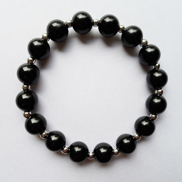 Jewelry factory Black 10MM beads bracelet with plated silver good quatity black Plastic beads stretch bracelet for women