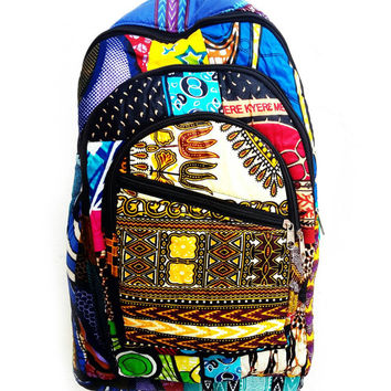 Colorful african print backpack book bag bookbag boho hippie bag padded africa print cotton worldwide shipping backpacks canvas hipster cool