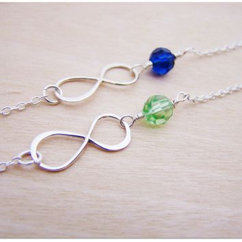 Sterling Silver Infinity and Swarovski Crystal Birthstone Wire Wrapped Bracelet / Gift for Her
