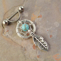 Turquoise Dream Catcher Helix Ear Piercing Cartilage Barbell