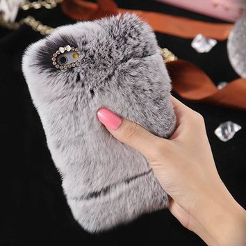 Case For iPhone Samsung Fashion Winter Warm Fluffy hair Fuzzy phone case For Iphone 5 SE 6 6S 7Plus Hair Soft Back Case Plush