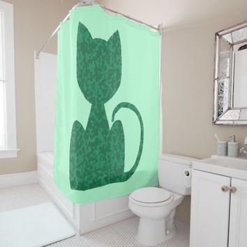 Green Cat CrystalKatz High Quality Shower Curtains Shower Curtain