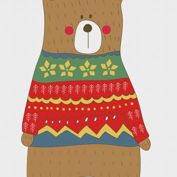 Contemporary Brown Bear in a Colorful  Knit Sweater Hand Embroidery Pattern