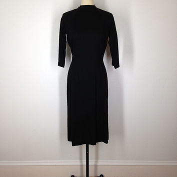 1950s Black Dress / Vintage Wool Knit Day Dress / 50s LBD / Junior Miss California / Size 4 Small S XS
