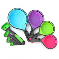 Measuring Cups Spoons Tablespoons Collapsible Baking Coffee Kitchen Silicone Set