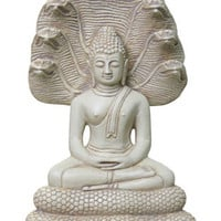 Buddha Seated on Coiled Nag Snake Throne Statue 9.5H
