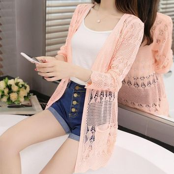 Thin knit cardigan sweater female 2018 new spring jacket in the long section of a hollow loose shawl in summer