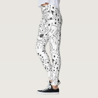 Funny sketchy dancing cats illustration pattern leggings