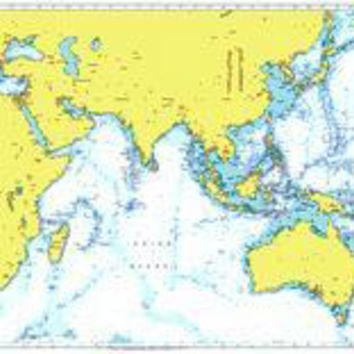 British Admiralty Nautical Chart 4016: A Planning Chart for the Eastern Atlantic Ocean to Western Pacific Ocean including the Mediterranean Sea and Indian Ocean