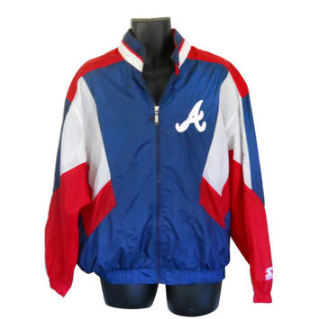 Vintage Atlanta Braves Windbreaker Starter Jacket Men Windbreaker Nylon Jacket Windbreaker Jacket 90s Windbreaker Track Jacket Lightweight