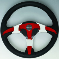 Black Steering Wheel, Red Inserts - Uflex