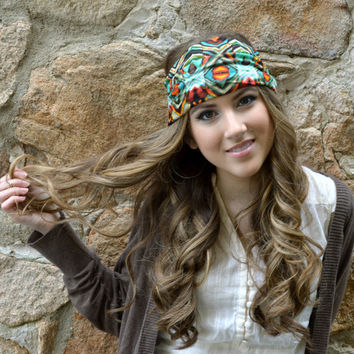 Bohemian Mint head band, soft jersey wide Hair Wrap