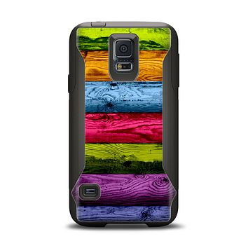 The Neon Heavy Grained Wood Samsung Galaxy S5 Otterbox Commuter Case Skin Set