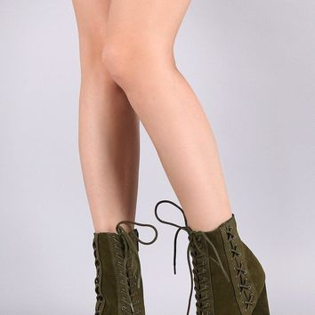Bamboo Suede Front And Side Lace Up Chunky Heeled Ankle Boots