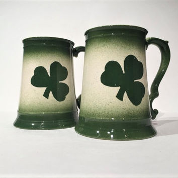 Vintage Irish Shamrock Ceramic Beer Mugs, Lucky Clover Mugs, St. Patrick's Day Gift, Irish Beer Tankard, Set of (2) Irish Clover Beer Stein