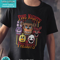 New FNAF Five Nights at Freddy's Shirt Multi-Character Youth Kids Shirt and Toddler Black Shirt Sizes