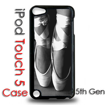 iPod Touch 5 5th Generation Black Plastic Case - Ballet Slippers Shoes toe Pointe Dance Ballerina  - iPod 5 Cover