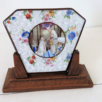 Vintage French, First Communion, Limoges Plaque, On Stand