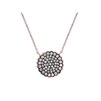 "Black & Rose Plated Sparkling CZ Sun Pendant(16mm) Necklace in Sterling Silver, 15.5""+1.5"""