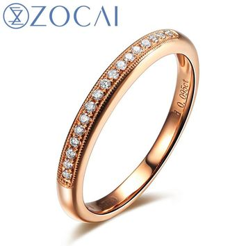 ZOCAI Real 18K rose gold 0.09 ct certified genuine diamond wedding women ring I-J / SI Genuine diamond fine jewelry