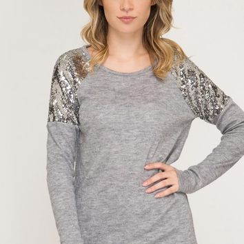 Kixters - Grey Lace/Sequin Sleeve Hacci Top