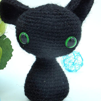 Black cat gift, Cat lover gifts, Cat decor, Amigurumi cat, Halloween decor Hand Crocheted Black Kitten Handmade Stuffed Kitten Kitty Plushy
