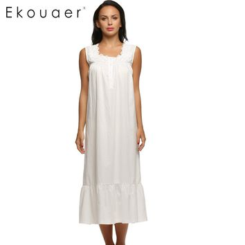 Ekouaer Women Nightgown Sleeveless Long Sleepwear White Floral Casual Style Cotton Nightgown Loose Comfortable Homewear