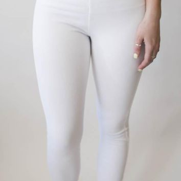 Denim Cropped Legging - White