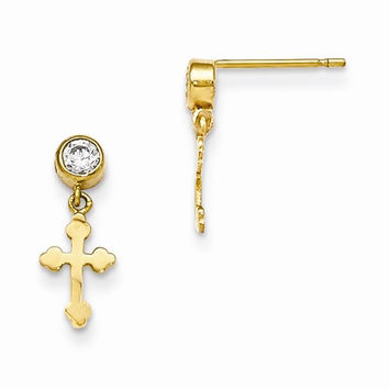 14k Madi K Cross Dangle Post Earrings