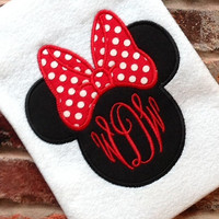 3 Letter Monogram Minnie Mouse Personalized Appliqed Shirt.  -    Perfect for a Disney Vacation   FREE NAME   Adult and Children's