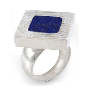 Textured Sterling Silver and Lapis Lazuli Slab Ring