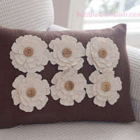 Home Decor Decorative Pillow Cover Fabric Flowers Button Centers Brown Upholstery Natural Canvas