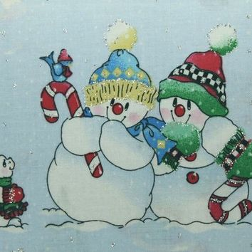 Christmas Fabric, Christmas Sewing Fabric, Snowman, Snowmen, Winter Scene, Quilting, Crafts, Fabric Traditions, Sewing Fabric, Cotton Fabric