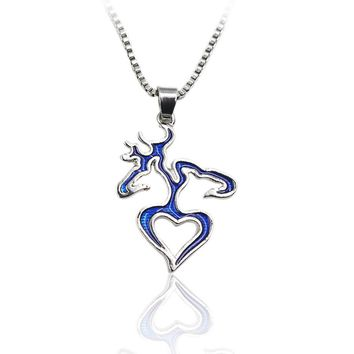 Browning Inspired Deer Heart Acrylic Necklace Set Romantic Deer Heart Head Hunting Love Couple