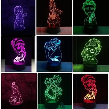 3D Elegant Fairy Tale Mermaid Princess Snow illusion LED Baby Night Light RGB Lighting Bedroom Lampda Home Decor Girls Xmas Gift