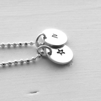 Small Initial Necklace with Star Charm, All Letters Available, Sterling Silver Jewelry, Letter r Necklace, Initial Jewelry, Charm Necklace