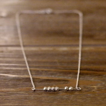 Minimal Modern Friendship Skinny Thin Pure Genuine 925 Sterling Silver Facet Bead 1 Mm Rolo Round Italian Cable Chain Necklace Jewelry Gift (Anthropologie)