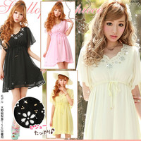 Rakuten: Scallop shell sleeves glitter flower dress- Shopping Japanese products from Japan