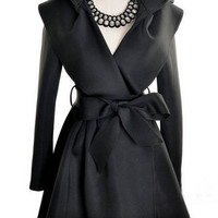 Hooded Self-tie Bow Long Sleeve Coat