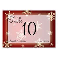 Winter Wedding Red & White Snowflakes Table Number